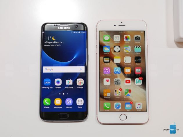 so sanh galaxy s7 edge va iphone 6s plus