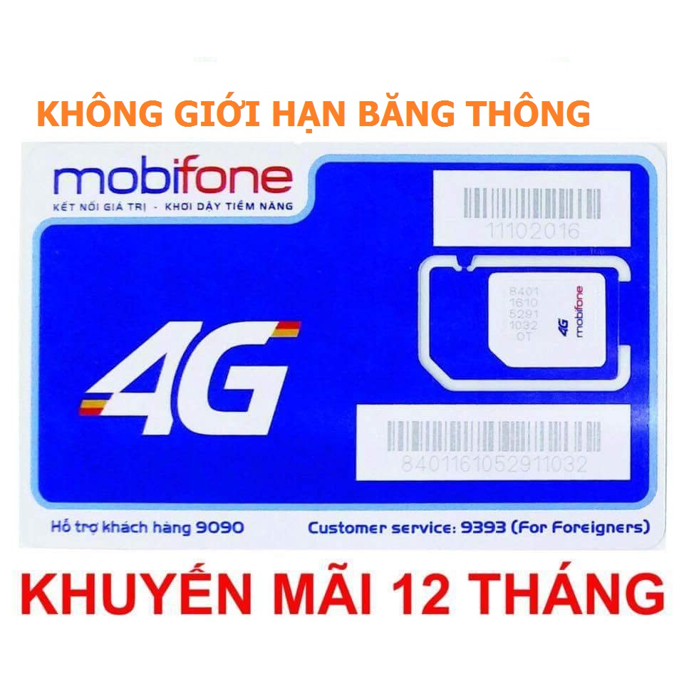 Sim 3G 4G mobi giá rẻ KHÔNG GIỚI HẠN BĂNG THÔNG